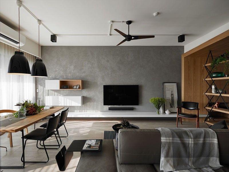 Dieser graue Wand in einer Wohnung ist die Heimat an den Fernseher - wohnung in grau