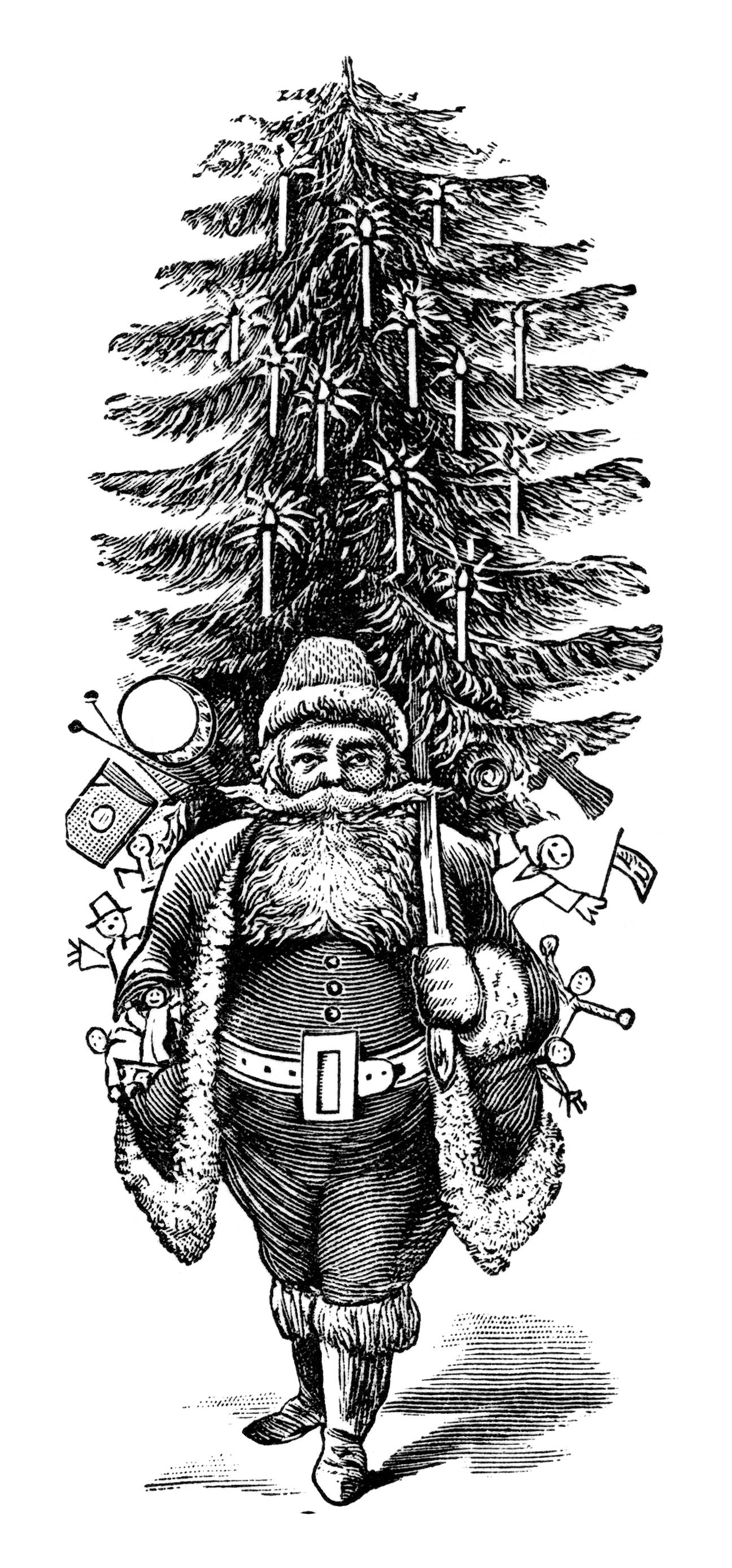 Vintage Christmas Clip Art Black and White | christmas | Pinterest ...