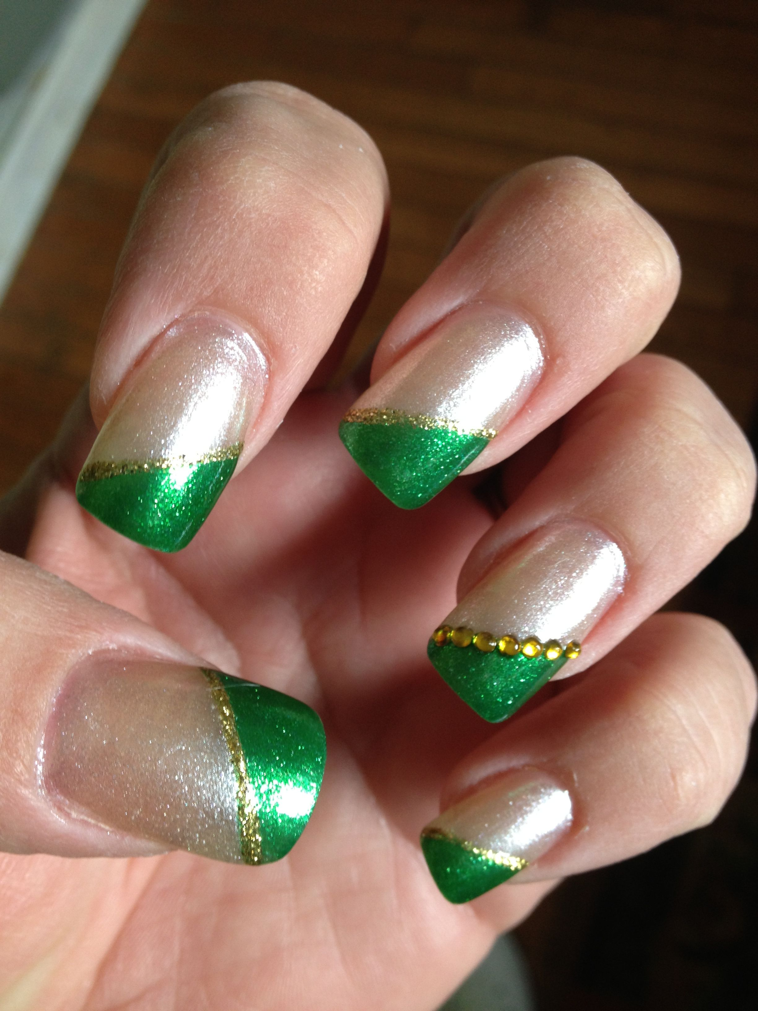 St Patrick\'s day nails - cute, but you could add orange to this, for ...