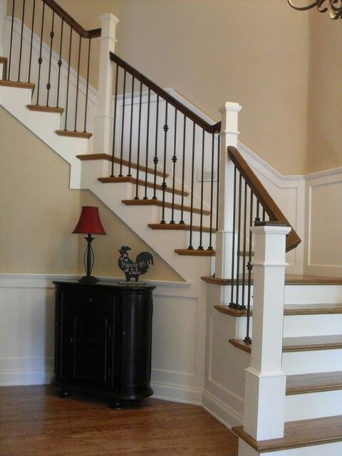 Iron Spindles White Risers With Dark Handrails Wrought Iron