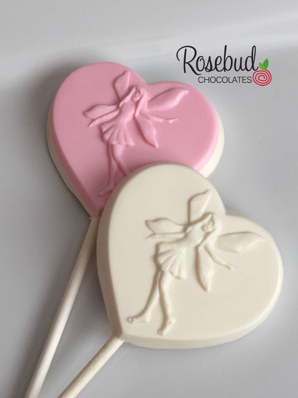 Pink and white chocolate Fairy Heart Shaped Lollipop Favors www ...