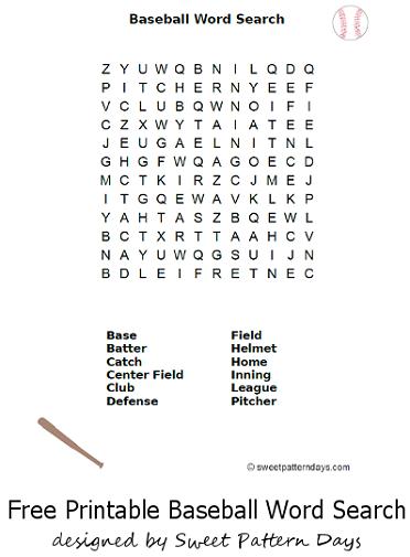 Baseball Word Search Printable Education Free Printables