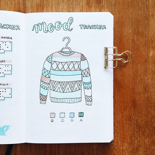 """Saara • bullet journal on Instagram: """"January's sweater mood tracker almost filled in ️ I really like how this one turned out, thank you @marthasjournal for the original idea!…"""""""