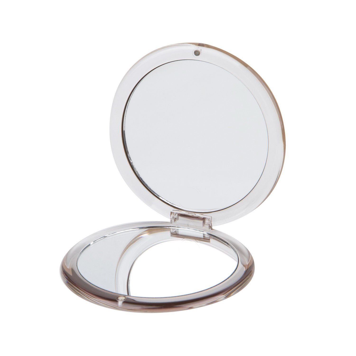 Round Pmma Compact Mirror Double Sided Travel Makeup Mirror With