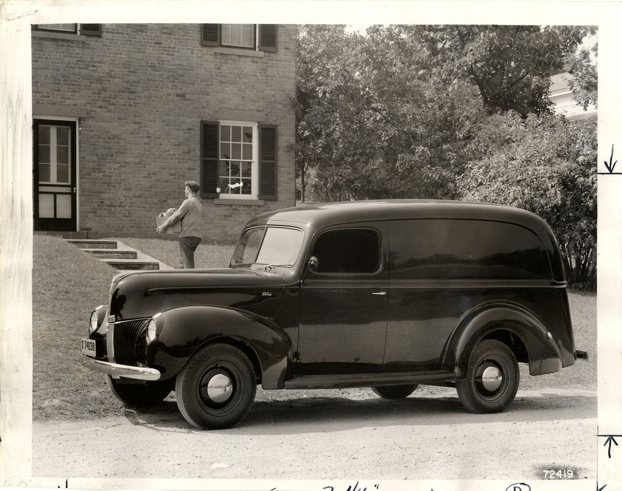 A Factory Image Of A 1940 Ford V 8 112 Inch Panel Van October 2 1939 1940 Ford Ford Old Trucks