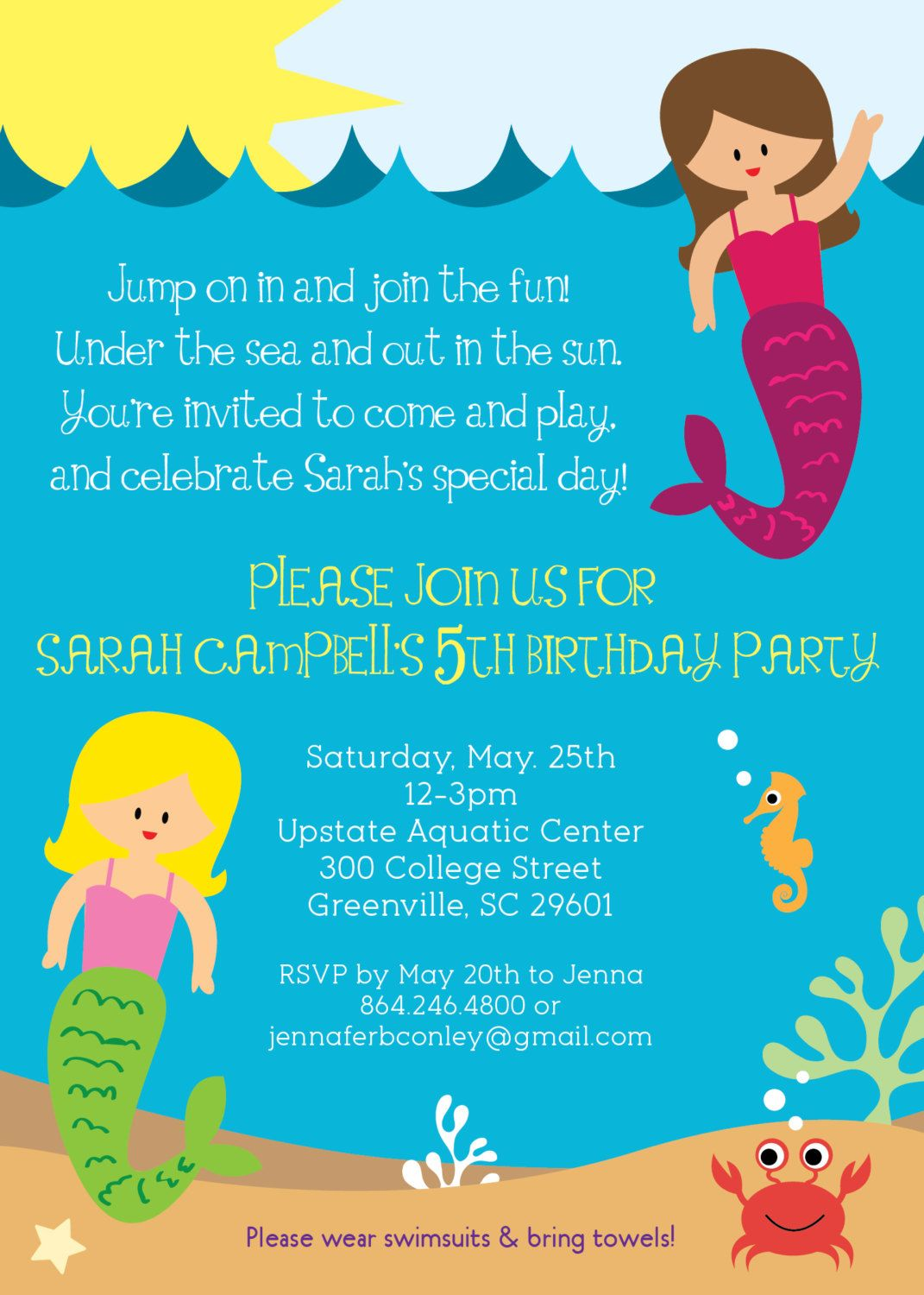 Mermaid Birthday Party Invitation, Printable, Girl, Under the Sea ...