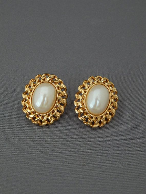Vintage Napier Earrings Pearl Cabochon Gold Chain Framed