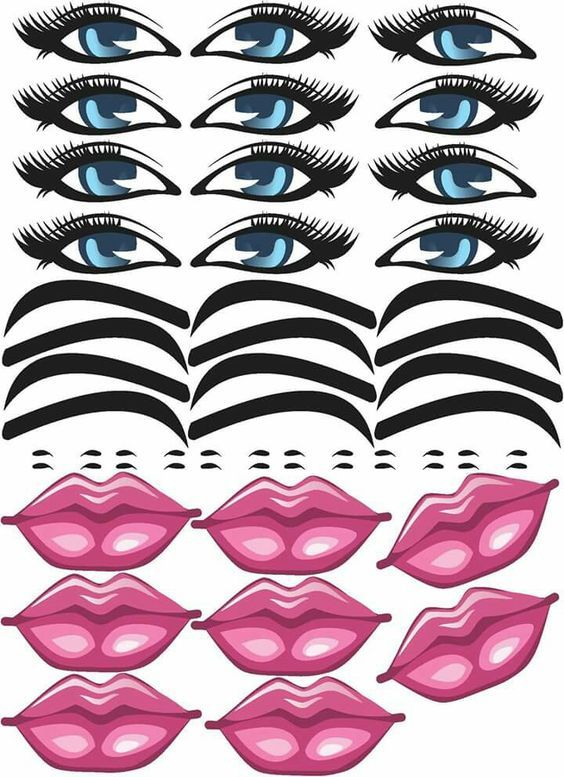 Adesivo Para Geladeira Kombi ~ Moldes de Olhos,Bocas,Nariz e Bigodinho Para Imprimir Olho, Bonecas e Rostos