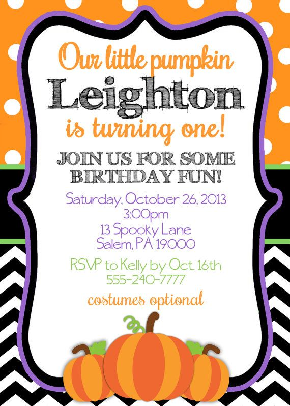 First Birthday Halloween Party Invite By KickAssCraftsShop On Etsy 1000