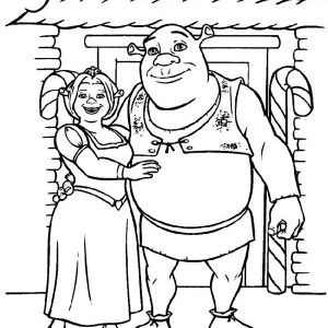 Shrek Shrek And Princess Fiona In Front Of Their House Coloring