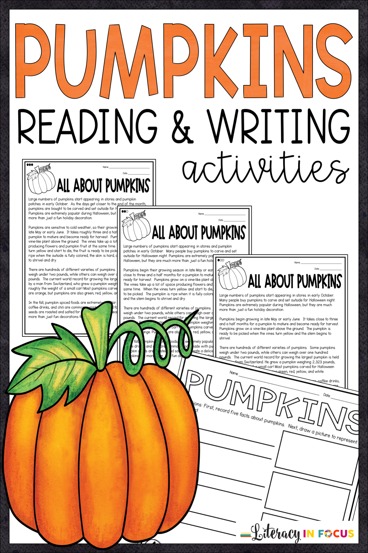 All About Pumpkins Reading And Writing Activities