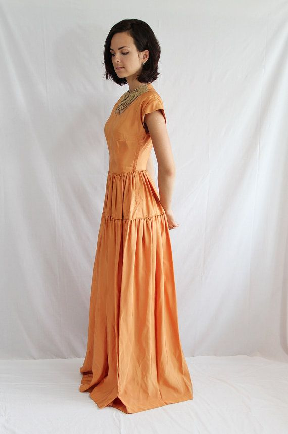 40s Dress / Evening Gown / Old Hollywood / Metallic / Copper ...