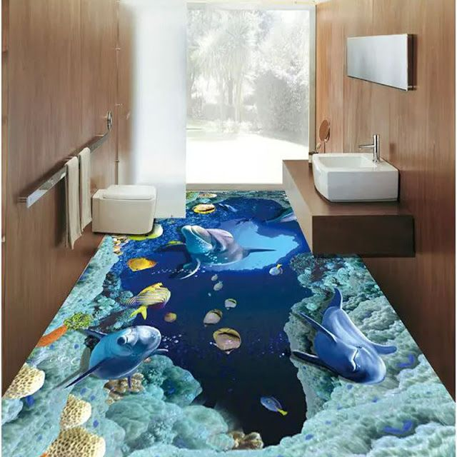 Renovate Your Bathroom With Realistic 3d Floor Tiles With Deep Sea Effect Floor Tile Design Tile Design Patterned Floor Tiles
