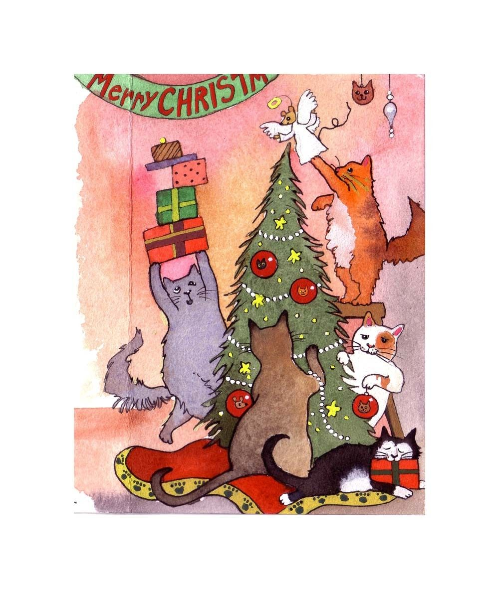 Cat greeting card cat christmas card funny cats art cats cat greeting card cat christmas card funny cats art cats watercolor painting illustration kristyandbryce Image collections