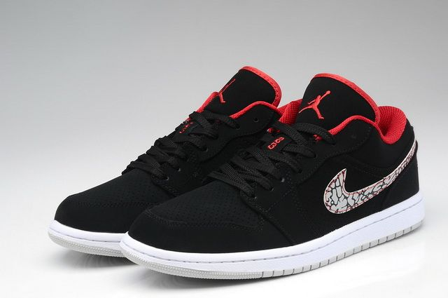 49c0bd058bf2 Nike Air Jordan 1 Retro Low Black Varsity Red Cement Grey White Shoes