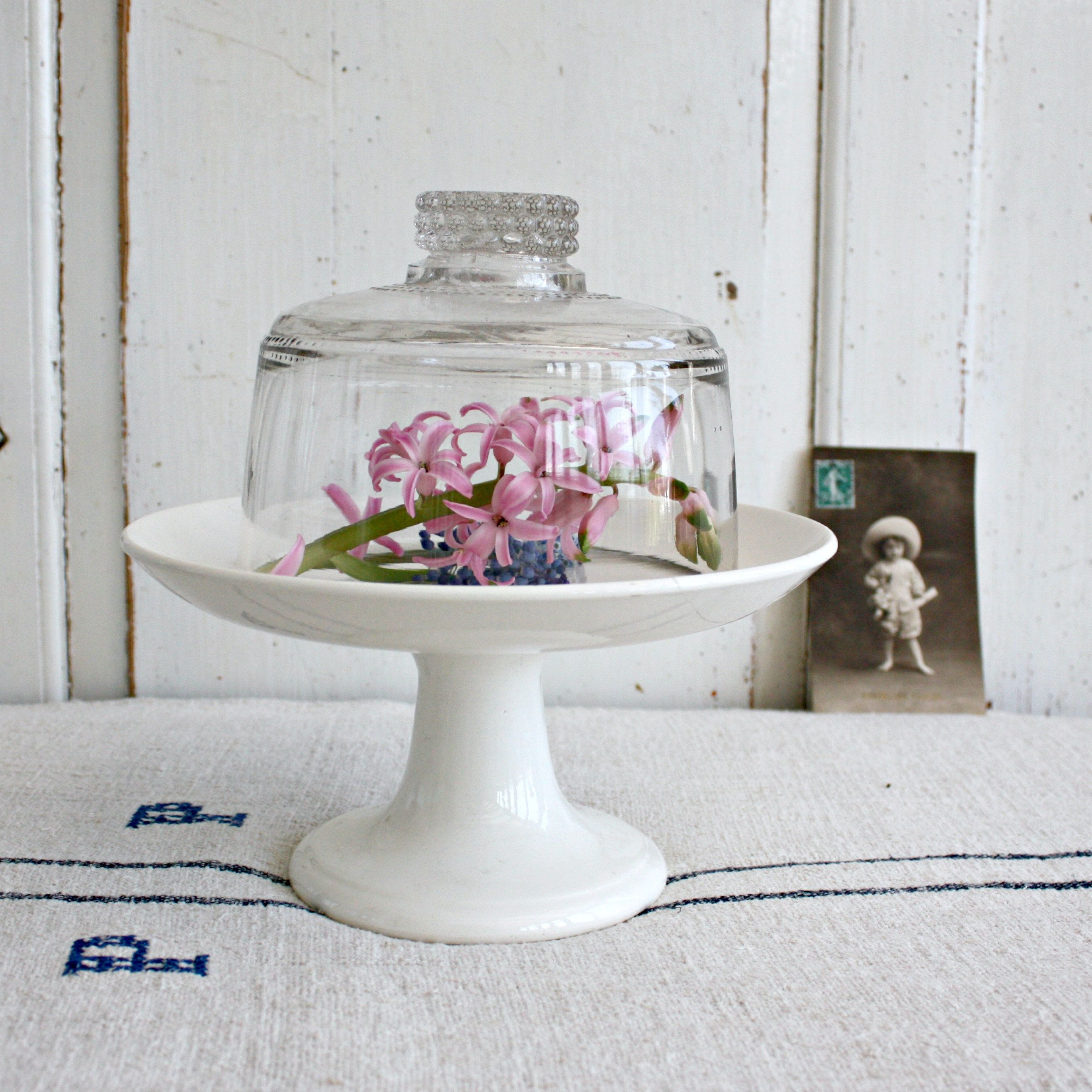 French white ironstone cake stand with glass dome lid