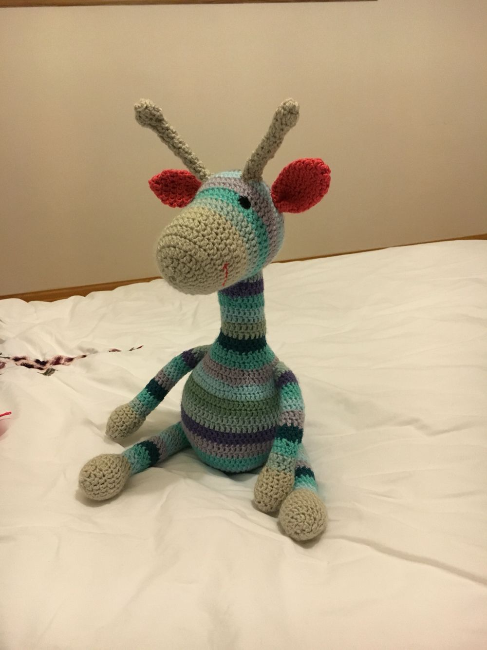 My crochet giraffe from free pattern @ http://ilovebuttonsbyemma.blogspot.co.uk/2013/01/crochet-giraffe-pattern.html?m=1