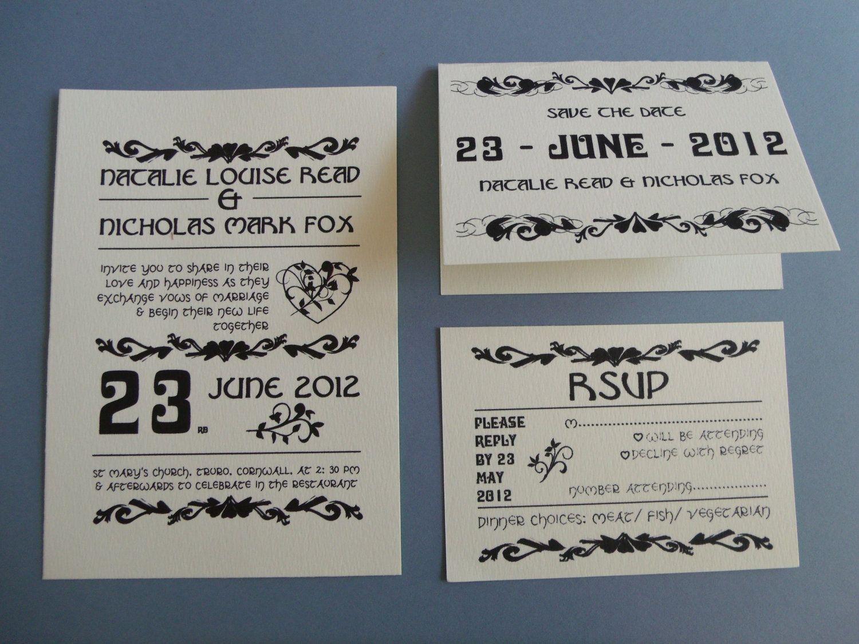 DIY Printable Custom Designed Wedding Invitation RSVP