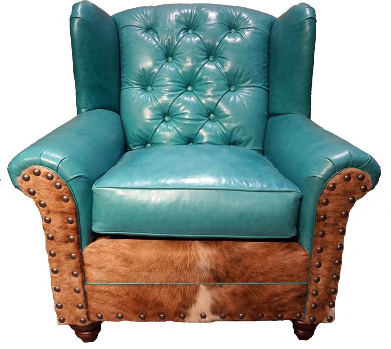 Turquoise Chairs Leather Pride Electric Lift Chair The Sadie Oversize Wing Western Accent Buttery Soft With Tufted Detail And Buttons Is Accented Brazilian Hair