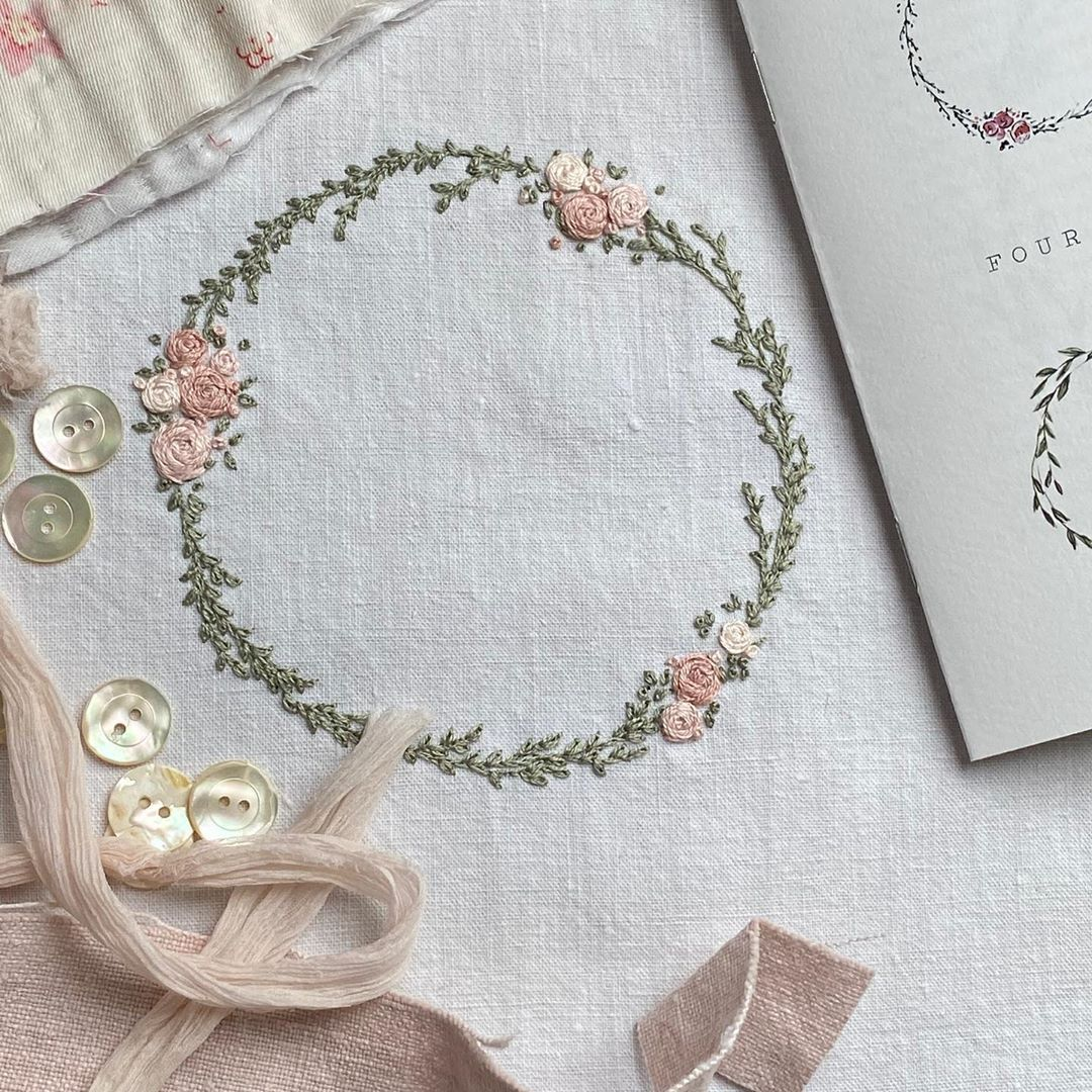"""@summerhousesewing on Instagram: """"Just finished the rose cluster wreath by @nickifranklin_needlework. Very delicate x"""""""