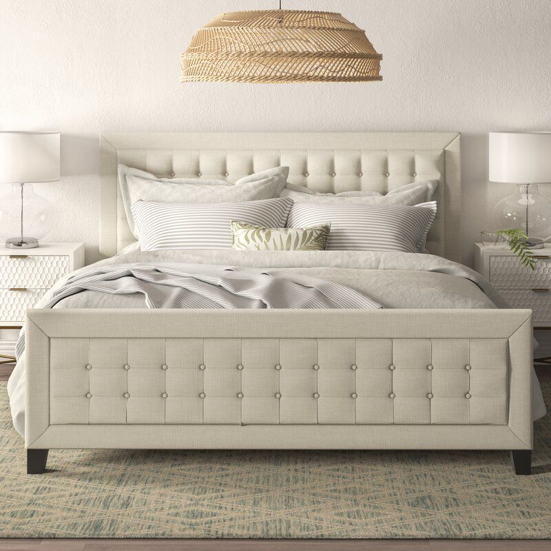Isolde Gridtufted Upholstered Panel Bed with Footboard в
