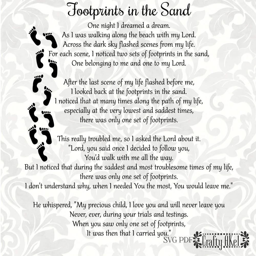 Footprints In The Sand Poem Svg Pdf Digital File Vector Graphic