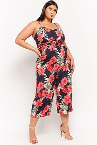4dc7bb37ca Plus Size Floral Culotte Jumpsuit