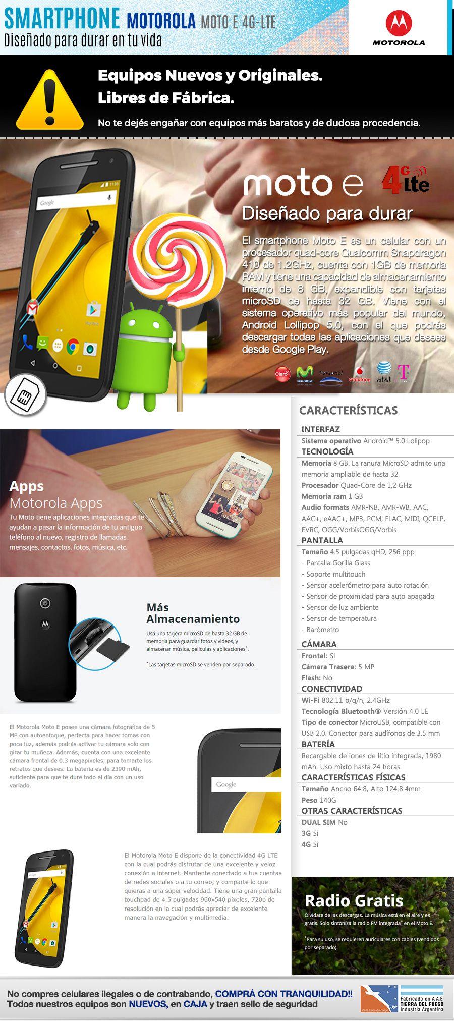 c924c8041d1 Motorola Moto E 4g Lte Libre Gps Cámara Quad-core Nuevo Gtia - $ 2.699