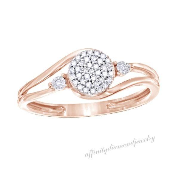 1/10 ct D/VVS1 Diamond Cluster Promise Ring In 14K Rose Gold Over $999 #AffinityDiamondJewelry #Promise #EngagementWeddingAnniversaryMemorialDay
