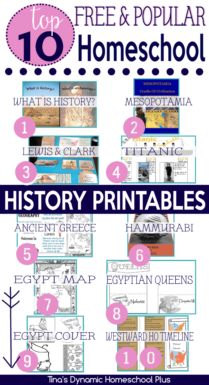 Top 10 Free Popular Homeschool History Printables