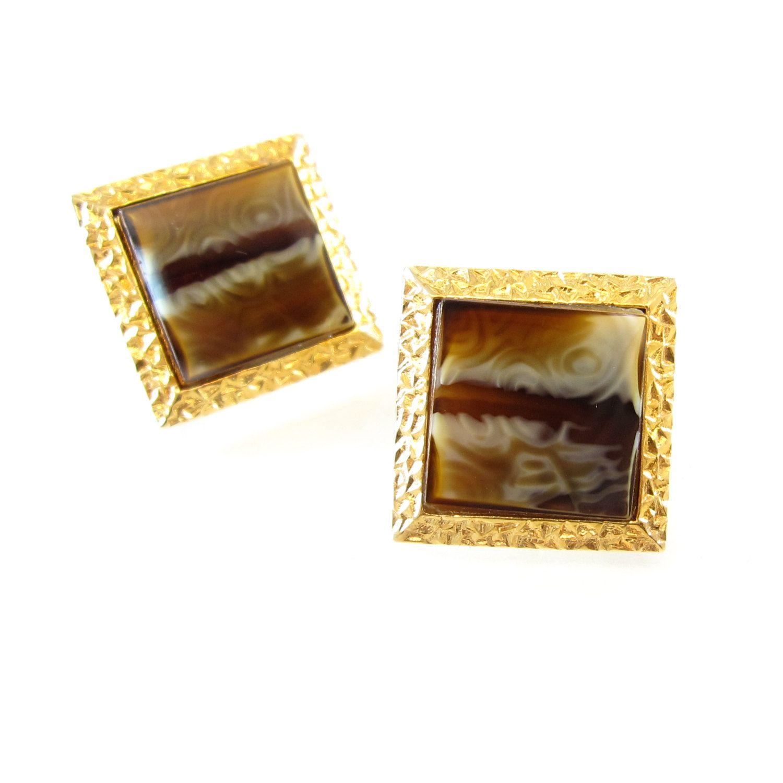Vintage Brown Agate Cuff Links Brown Swirls Square Textured