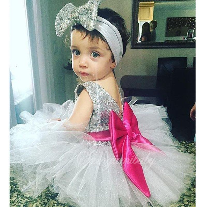 >> Click to Buy << 2017 New Baby Girls Red Bowknot Sequined Dresses Headdress Infant Christmas Dress Party Bebe 1 Year Birthday Dress Christening  #Affiliate