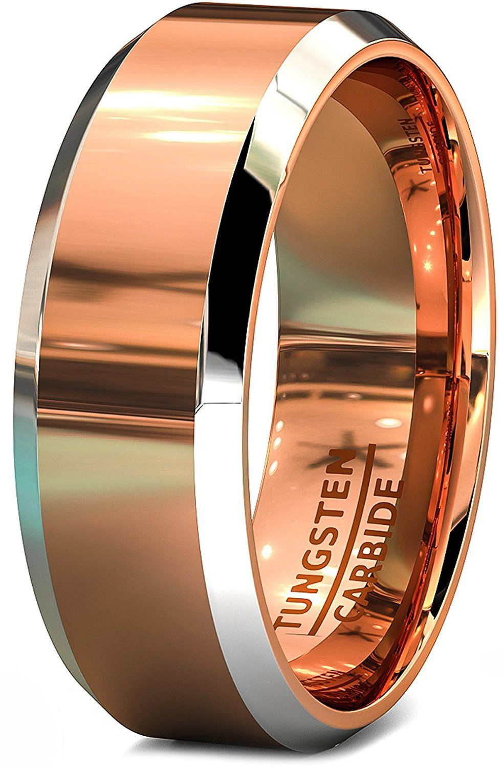 Mens Wedding Bands Two Toned Rose Gold Tungsten Ring Flat Top And Beveled Edges Review More Det Mens Gold Engagement Rings Mens Wedding Bands Rings For Men