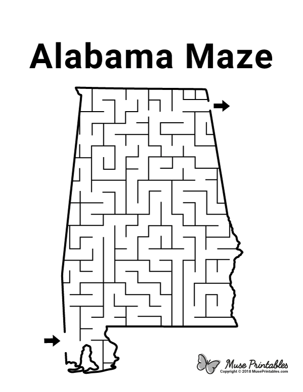Free printable Alabama maze. Download it at https