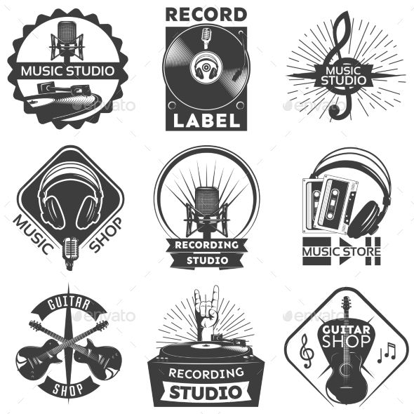 Music Shop Label Set Music Festival Logos Music Shop Music Logo