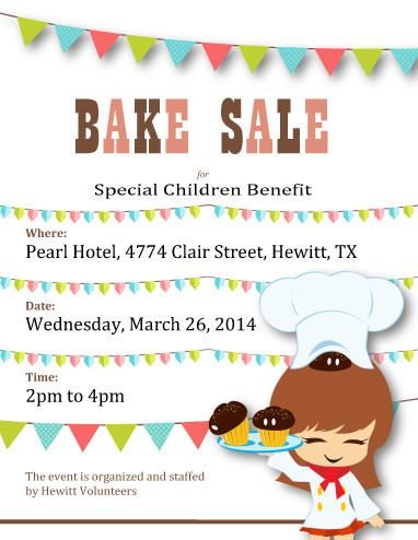 good places to have a bake sale