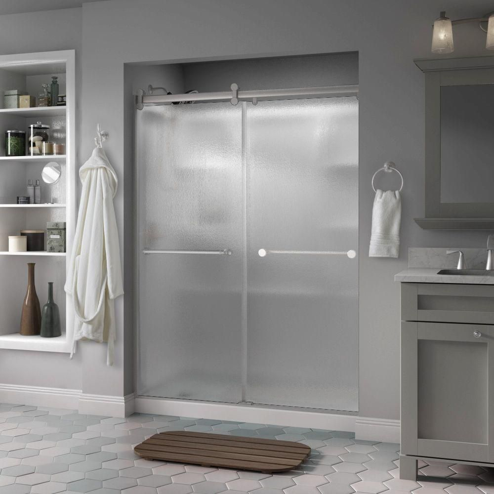 Delta Mandara 60 In. X 71 In. Semi Frameless Contemporary Sliding Shower  Door In Nickel With Rain Glass