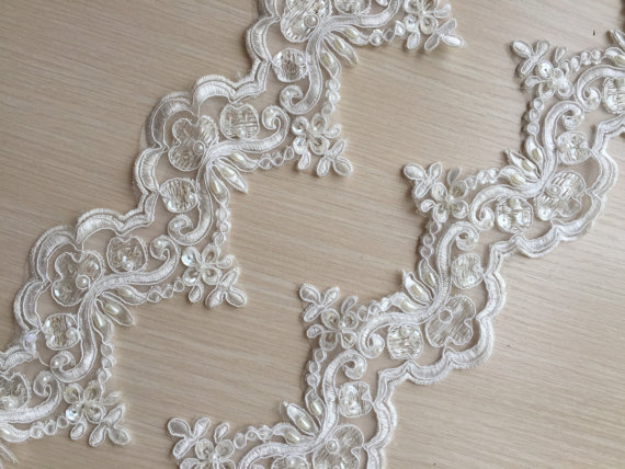 Photo of Ivory Alencon Lace Trim Pearl Beaded Sequined Lace Wedding L…
