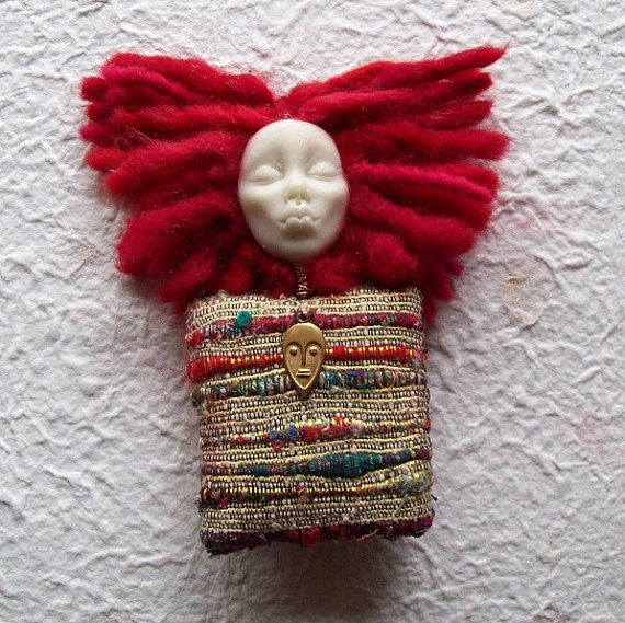 african american mixed media doll pin brooch -  Fiber jewelry by Paintedthreads