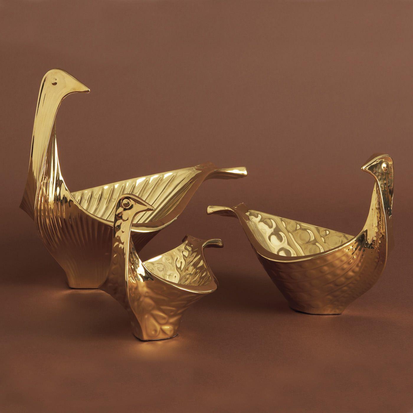 Small Gold Glazed Ceramic Bird Bowl By Jonathan Adler