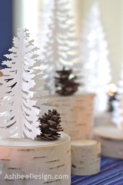 Winter Centerpiece using birch, Pinecones and tree Silhouettes by AshbeeDesign.com