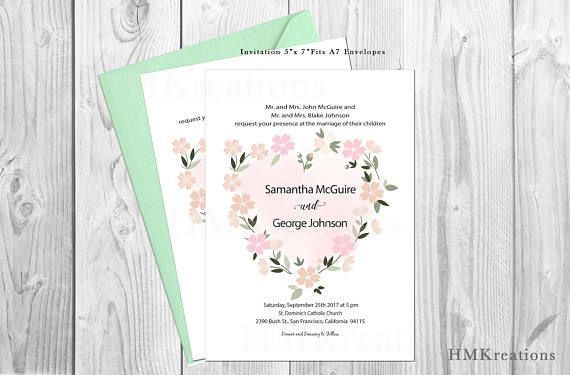 Floral Wedding Invitation Template Boho Heart Wedding