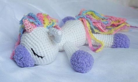 Sleeping unicorn pony crochet pattern free Mais   Crochet ...