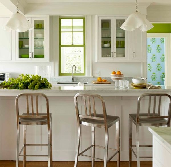 Dishware, painted window frame and fresh veggies add green to the ...
