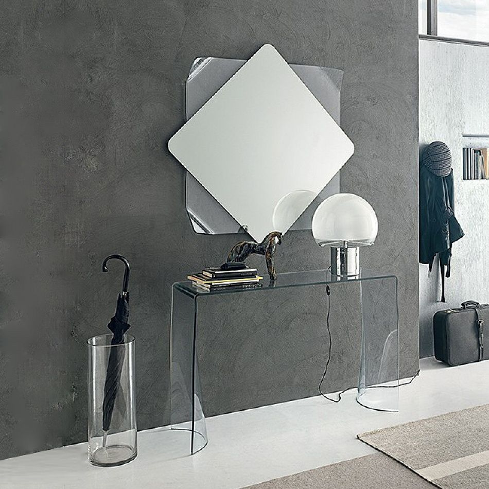 Glass console table with mirror curved modern design transparent glass console table lynx by target
