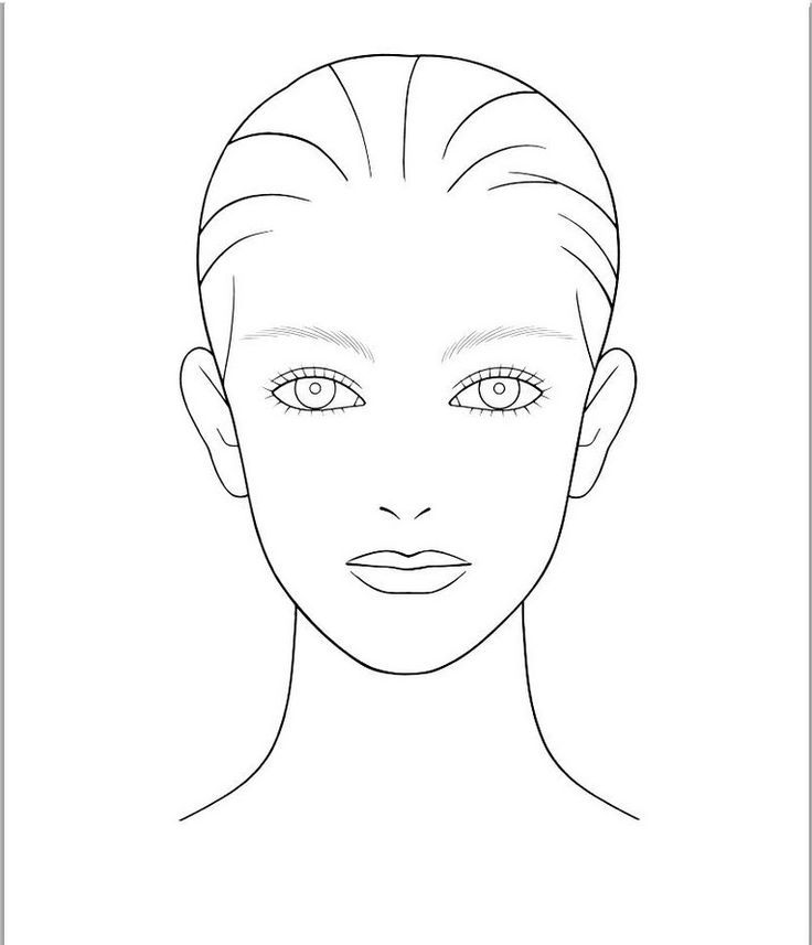 blank face template for hair and makeup foundation of your choice