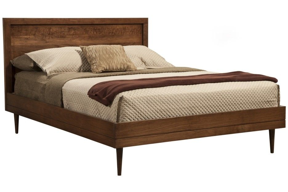 Brown Varnished Teak Wood Double Bed Frame With Short Legs And Headboard Using Comforter And Dark Brow Modern Bed Frame Bed Frame And Headboard Mid Century Bed