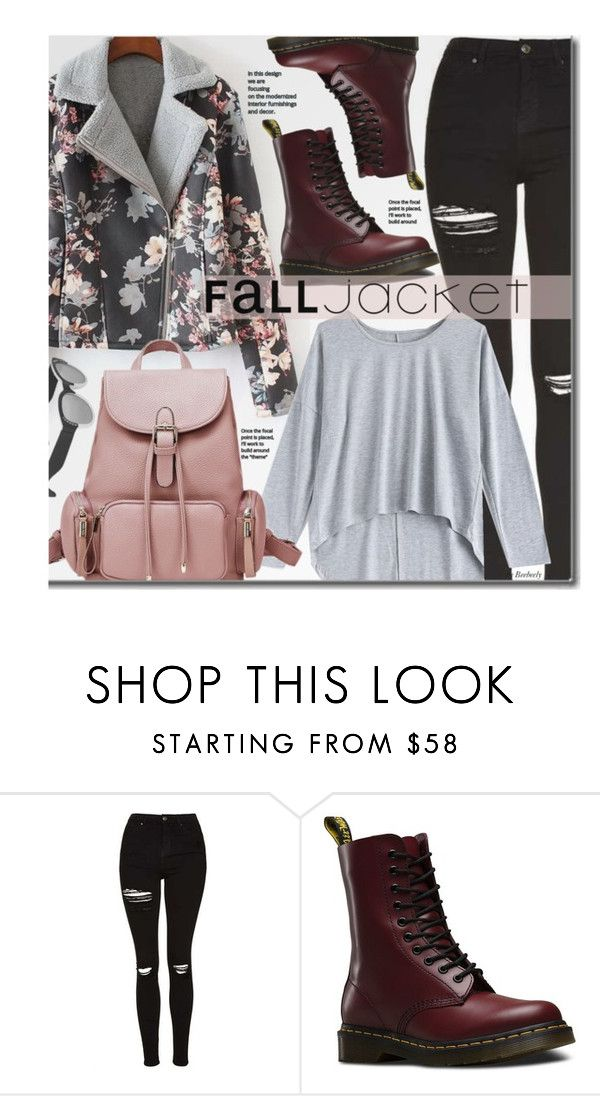 """""""Untitled #1802"""" by beebeely-look ❤ liked on Polyvore featuring Topshop, Dr. Martens, casual, floralprint, sammydress, falltrend and falljacket"""