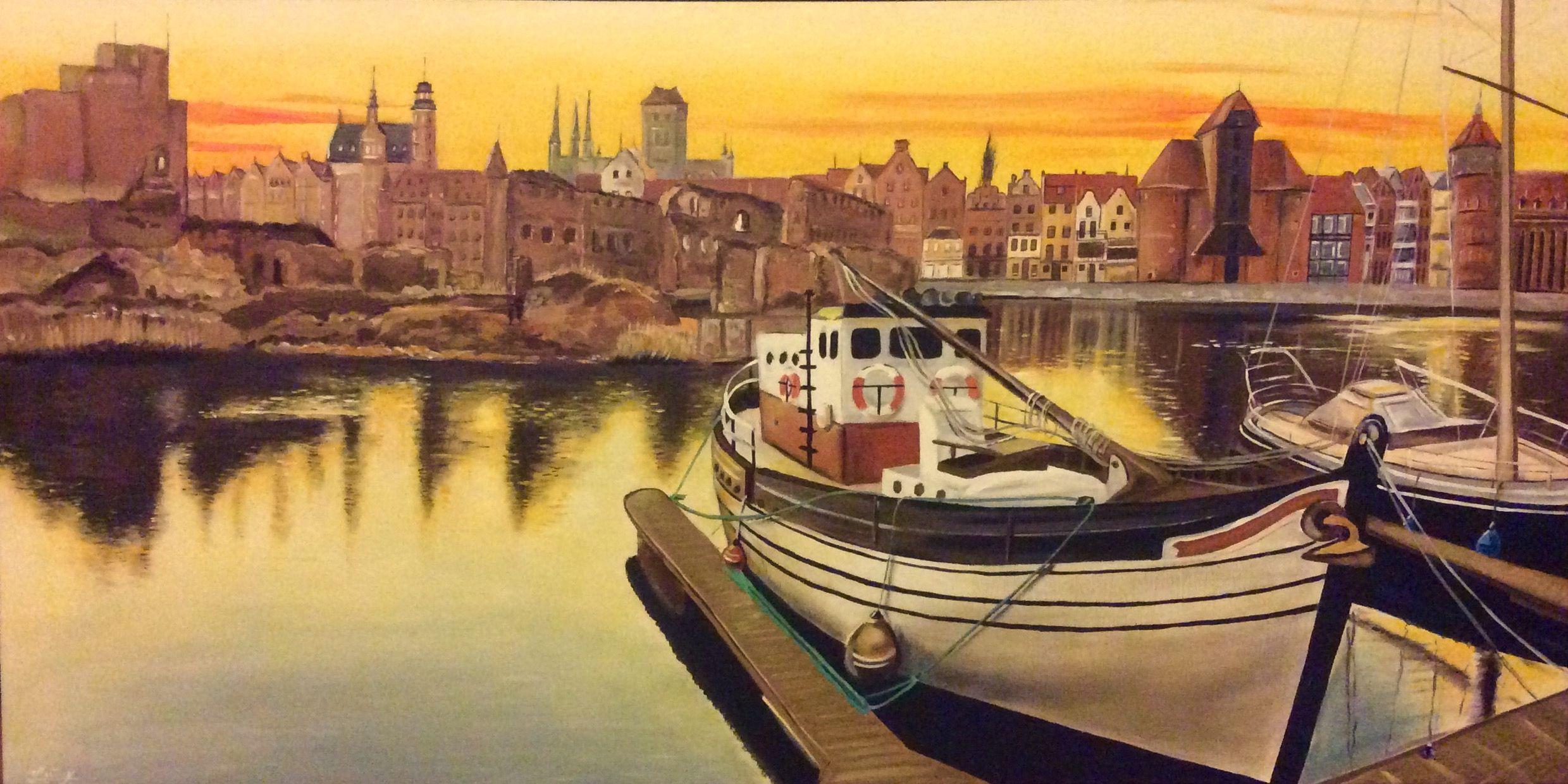Obraz Malowany Farbami Akrylowymi Gdańsk Nad Motławą Marina