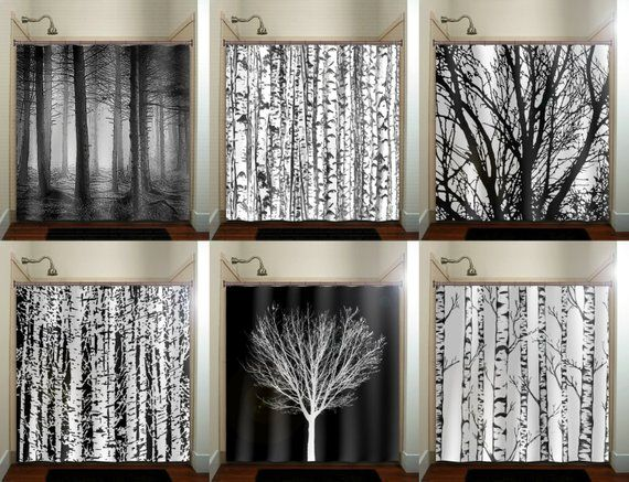 Forest Birch Tree Shower Curtain Extra Long Fabric Shower Etsy Tree Shower Curtains Fabric Shower Curtains Curtains